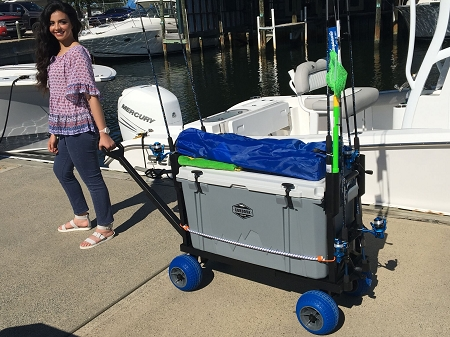 Plus one fishing cooler caddy cart blue wheels for Fishing carts for sale