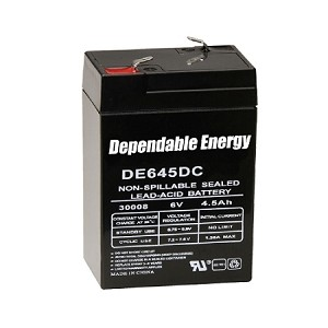 AMERICAN HUNTER DE645DC / 6V 4.5 AMP HR RECHARGEABLE BATTERY / TAB TOP