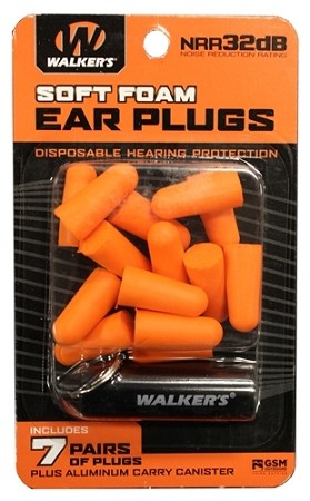 WALKERS NEON ORANGE FOAM PLUG W/ BLACK ALUMINUM CARRY CANISTER (7 PAIRS)