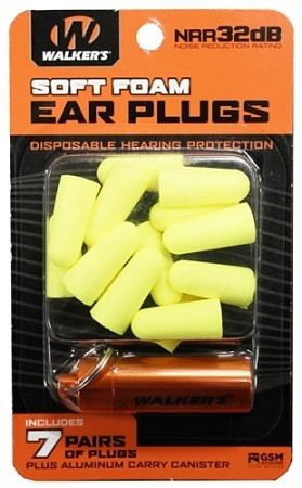 WALKERS NEON YELLOW FOAM PLUG W/ ORANGE ALUMINUM CARRY CANISTER (7 PAIRS)
