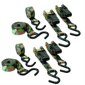 CAMOUFLAGE RATCHET TIE DOWN 4 PACK
