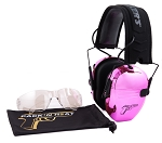 PACK'N HEAT CHROME PLATED ELECTRONIC HEARING EAR MUFF & EYE PROTECTION (PINK)