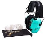 PACK'N HEAT CHROME PLATED ELECTRONIC HEARING EAR MUFF & EYE PROTECTION (AQUA)