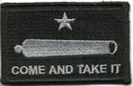COME AND TAKE IT CANNON BLACK PATCH w/ ADHESIVE